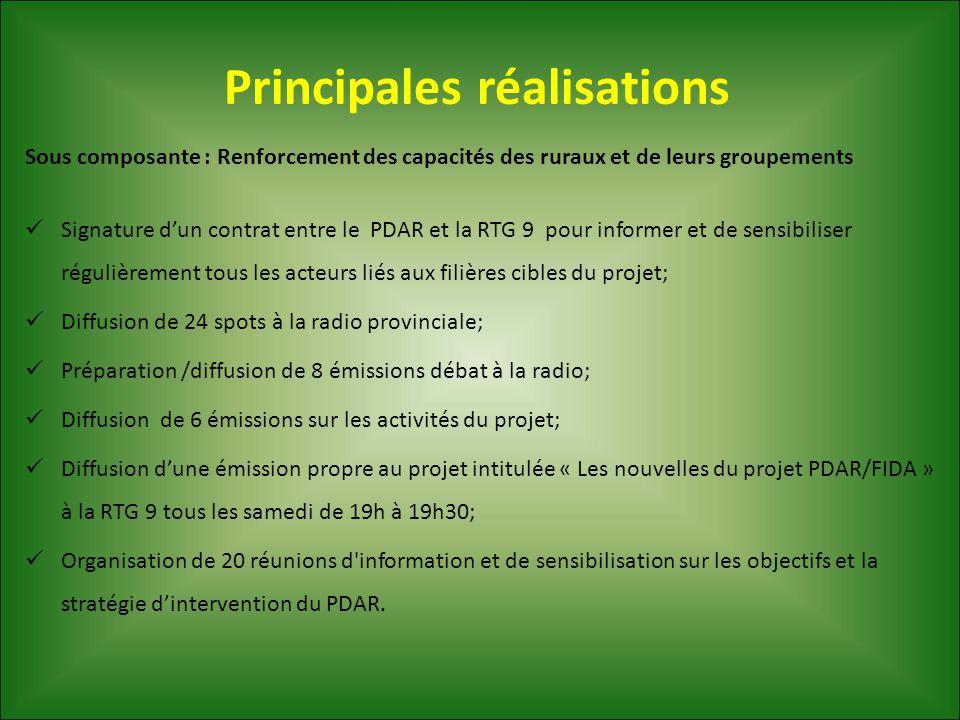Principales réalisations Sous composante : Renforcement des capacités des ruraux et de leurs groupements Signature d'un contrat entre le PDAR et la RT