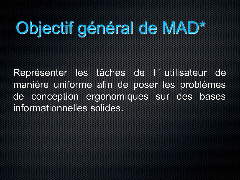 Objectif général de MAD* Représenter les tâches de l'utilisateur de manière uniforme afin de poser les problèmes de conception ergonomiques sur des ba