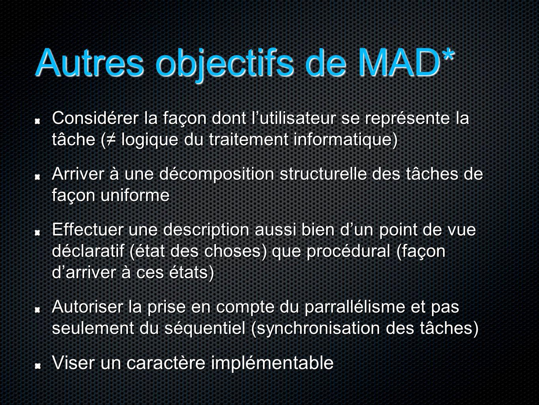 Autres objectifs de MAD* Considérer la façon dont l'utilisateur se représente la tâche (≠ logique du traitement informatique) Arriver à une décomposit