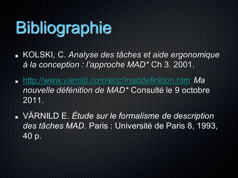Bibliographie KOLSKI, C. Analyse des tâches et aide ergonomique à la conception : l'approche MAD* Ch 3. 2001. http://www.varnild.com/eric/maddefinitio