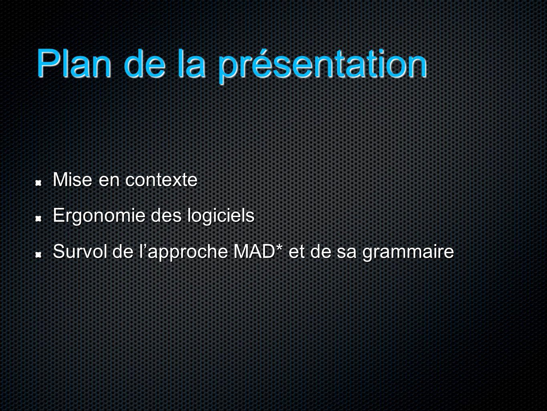 Plan de la présentation Mise en contexte Ergonomie des logiciels Survol de l'approche MAD* et de sa grammaire