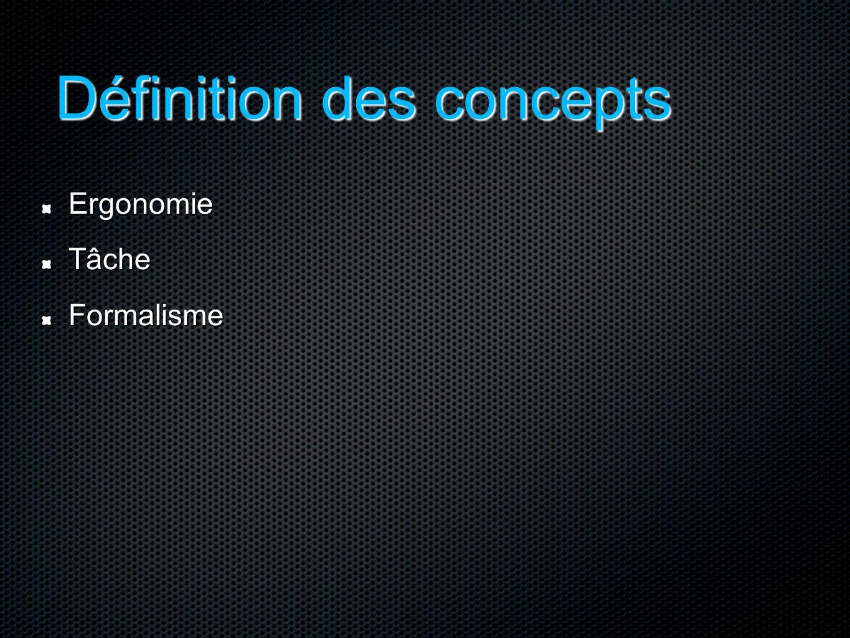 Définition des concepts ErgonomieTâcheFormalisme
