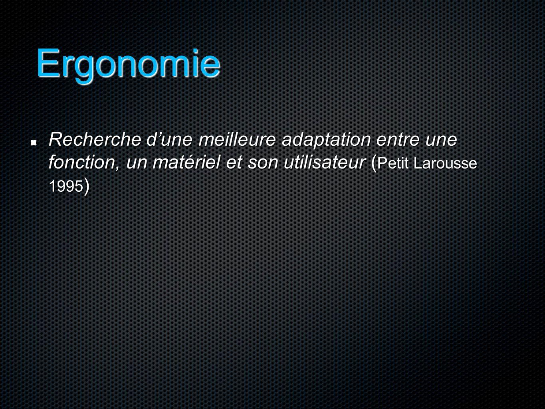 Ergonomie Recherche d'une meilleure adaptation entre une fonction, un matériel et son utilisateur ( Petit Larousse 1995 )