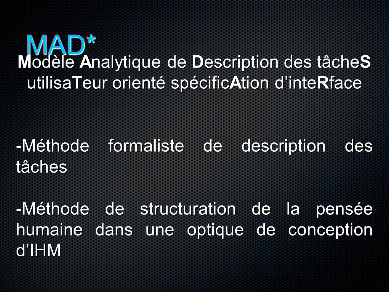 MAD* Modèle Analytique de Description des tâcheS utilisaTeur orienté spécificAtion d'inteRface -Méthode formaliste de description des tâches -Méthode