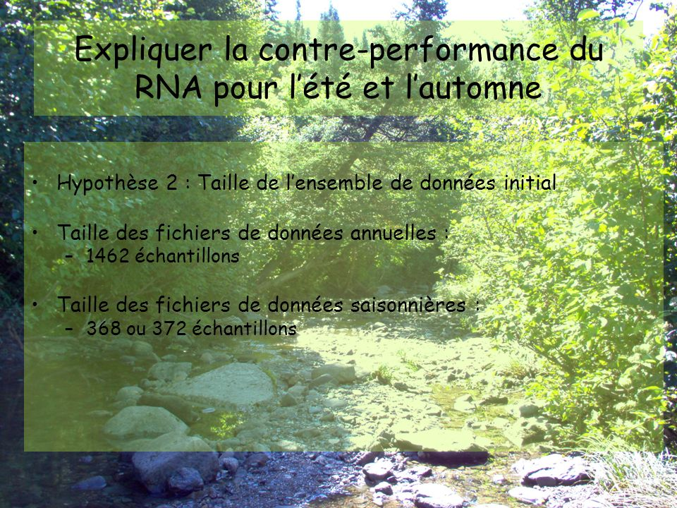 Expliquer la contre-performance du RNA pour l'été et l'automne En l'absence de données de conditions d'humidité antécédentes à fournir en « input » au RNA, comment s'assurer que ledit RNA identifie et distingue les conditions sèches et les conditions humides par lui- même pour fournir des résultats corrects .