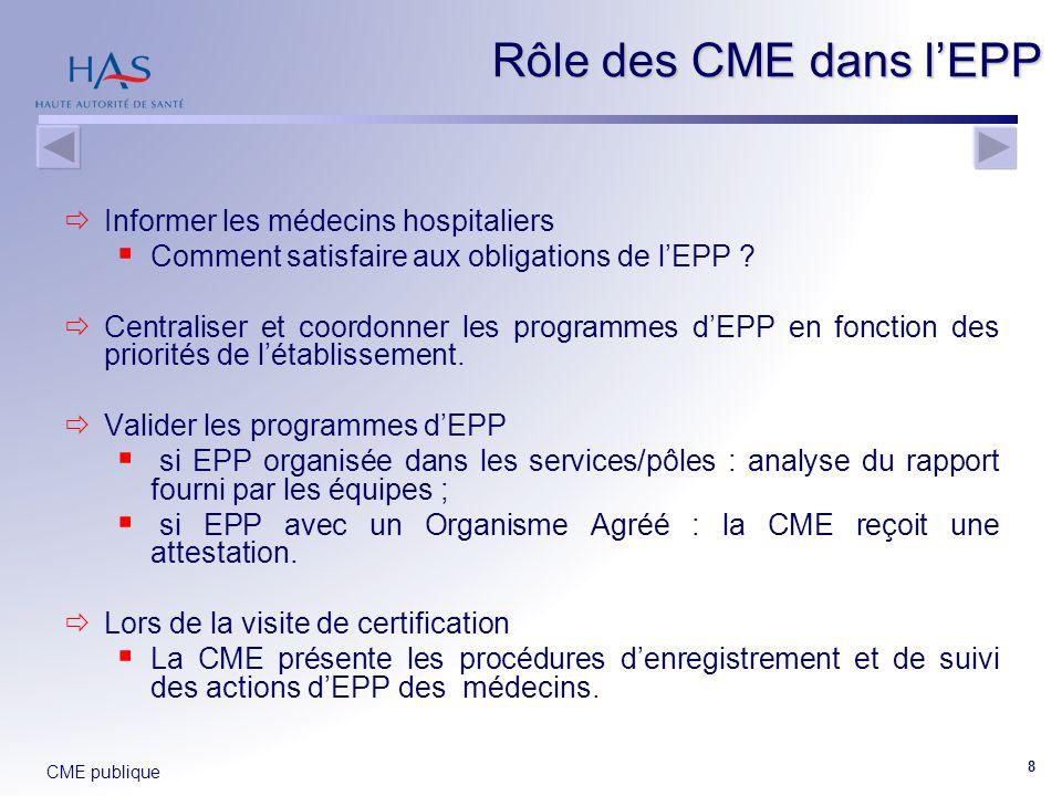 CME publique 8  Informer les médecins hospitaliers  Comment satisfaire aux obligations de l'EPP ?  Centraliser et coordonner les programmes d'EPP e