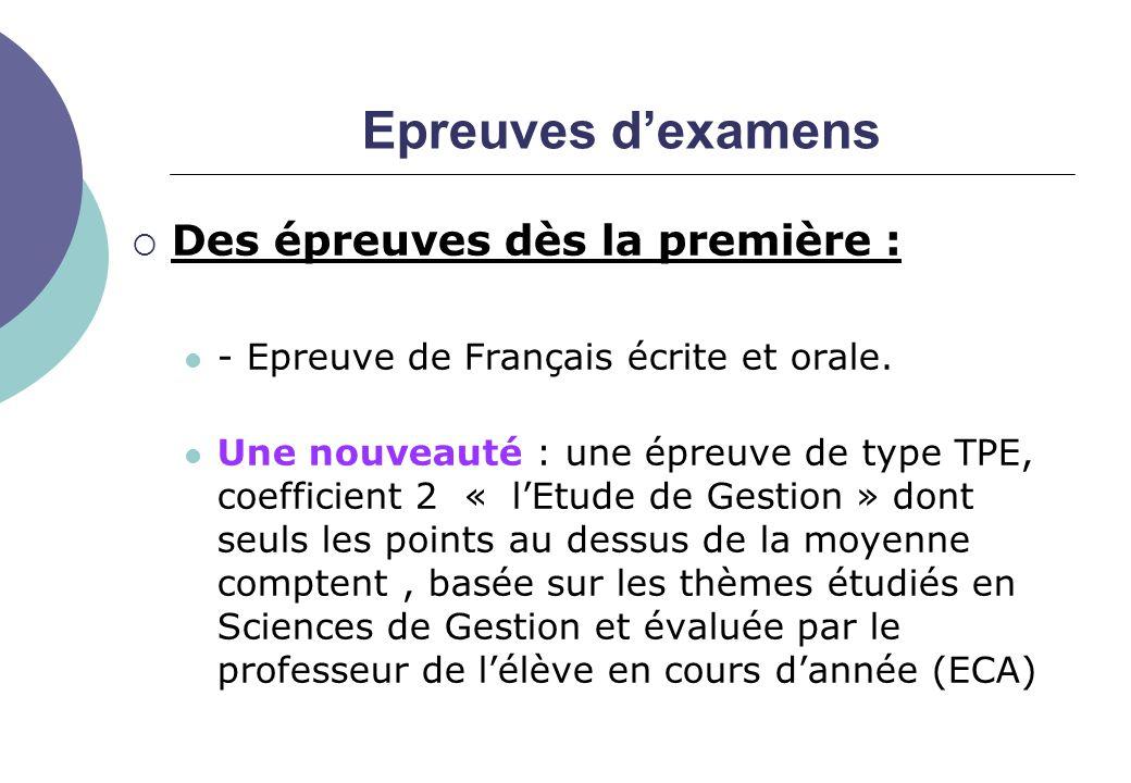 Epreuves d'examens  Des épreuves dès la première : - Epreuve de Français écrite et orale.