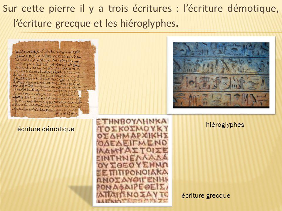 Sur cette pierre il y a trois écritures : l'écriture démotique, l'écriture grecque et les hiéroglyphes. écriture démotique hiéroglyphes écriture grecq