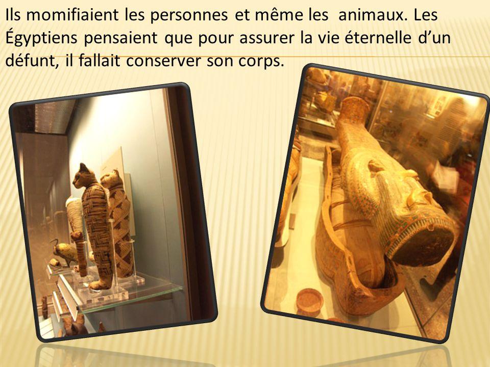 Ils momifiaient les personnes et même les animaux. Les Égyptiens pensaient que pour assurer la vie éternelle d'un défunt, il fallait conserver son cor