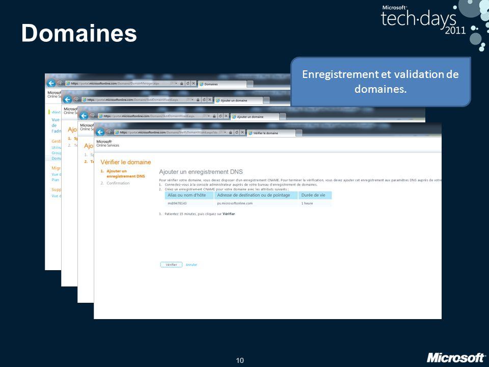 10 Domaines Enregistrement et validation de domaines.