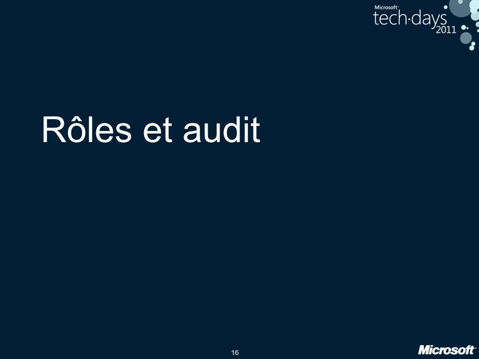 16 Rôles et audit