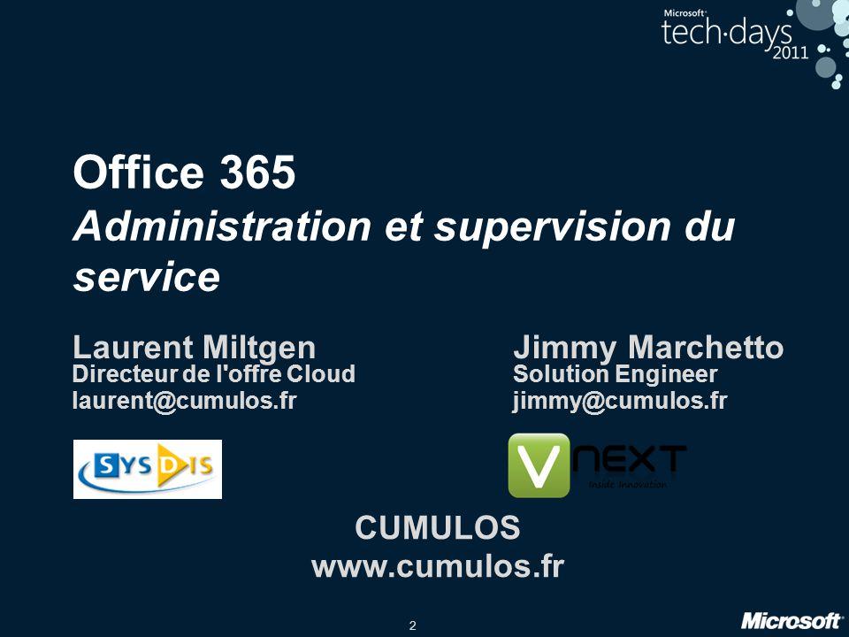 3 Introduction Ce que Office365 n'est pas Externalisation totale du SI Plus de gestion de licence … Ce qu'apporte Office365 Externalisation partielle du SI Système élastique Simplification de la gestion des licences …