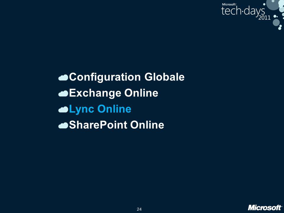 24 Configuration Globale Exchange Online Lync Online SharePoint Online