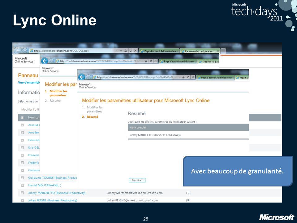 25 Lync Online La première section donne l'état de la solution PIC et de la fédération de domaine. Il est également possible de gérer la fédération de