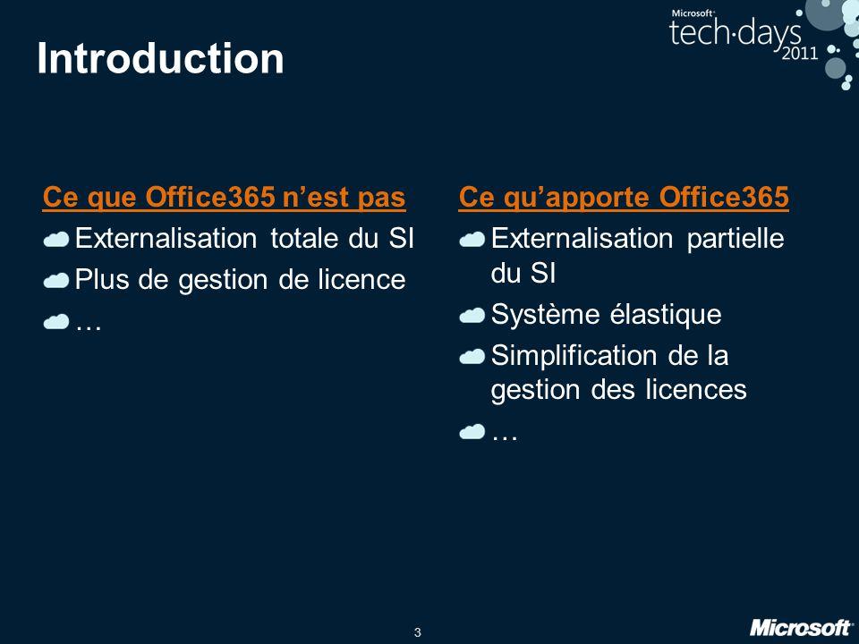 3 Introduction Ce que Office365 n'est pas Externalisation totale du SI Plus de gestion de licence … Ce qu'apporte Office365 Externalisation partielle