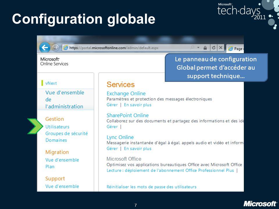 7 Configuration globale Le panneau de configuration Global permet de gérer Les utilisateurs… Le panneau de configuration Global permet de gérer les Gr