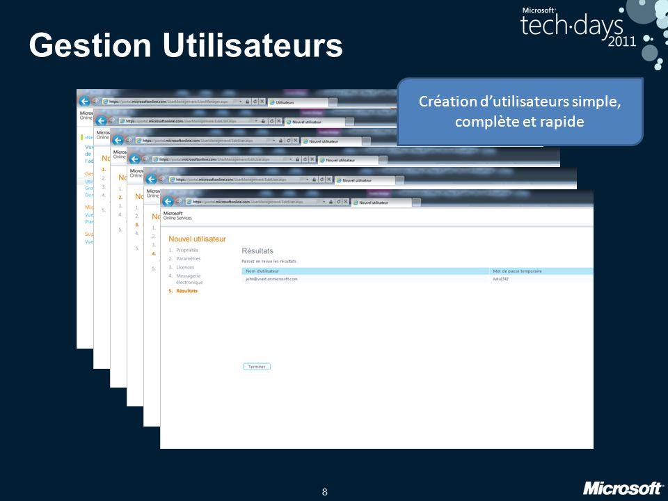 8 Gestion Utilisateurs Création d'utilisateurs simple, complète et rapide