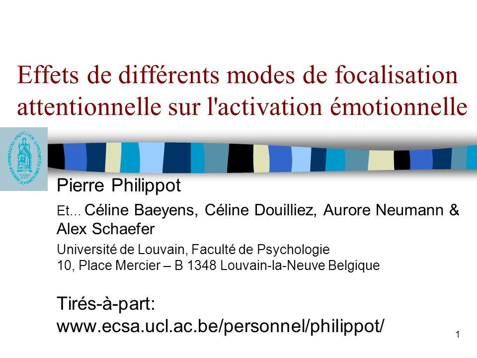 2 La spécificité: une dimension pertinente dans le traitement de l'information émotionnelle Penser ses émotions à un niveau très général comme stratégie d'évitement de la détresse émotionnelle –Biais de surgénéralité de la mémoire chez les déprimés (Williams, 1996) –Surgénéralité des ruminations anxieuses (Stöber & Borkovec, 2002)