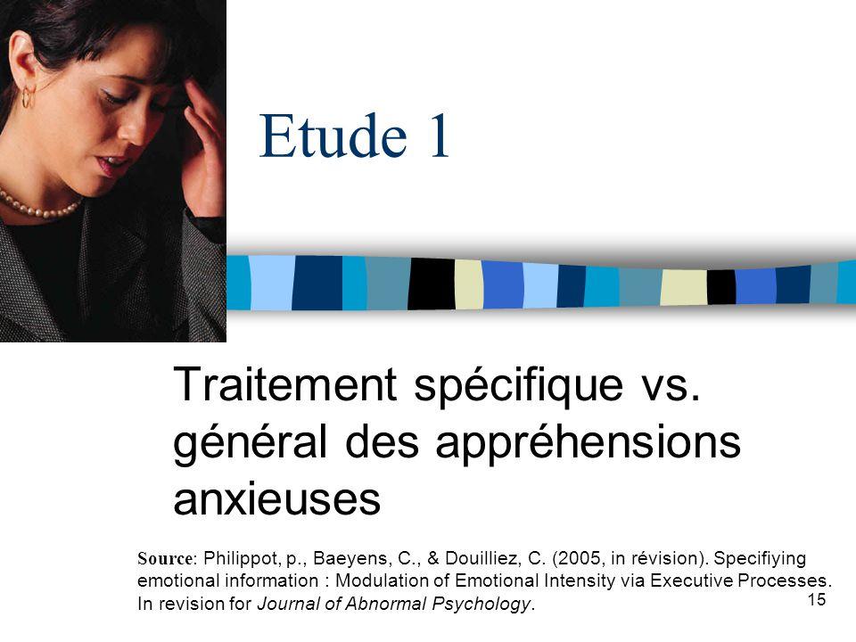 15 Etude 1 Traitement spécifique vs. général des appréhensions anxieuses Source: Philippot, p., Baeyens, C., & Douilliez, C. (2005, in révision). Spec
