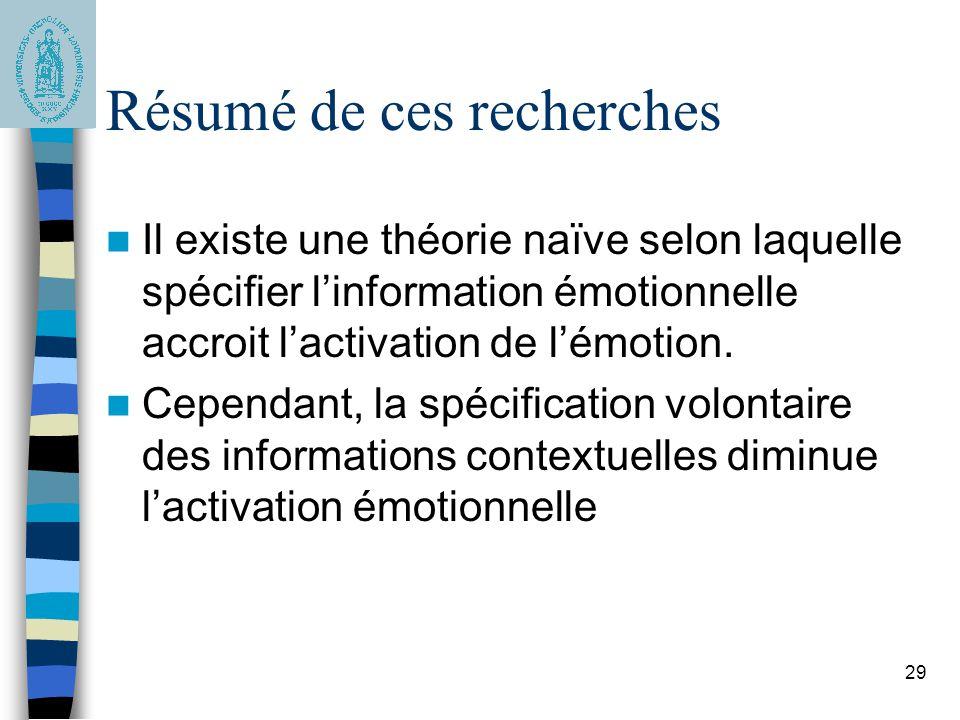 29 Résumé de ces recherches Il existe une théorie naïve selon laquelle spécifier l'information émotionnelle accroit l'activation de l'émotion. Cependa