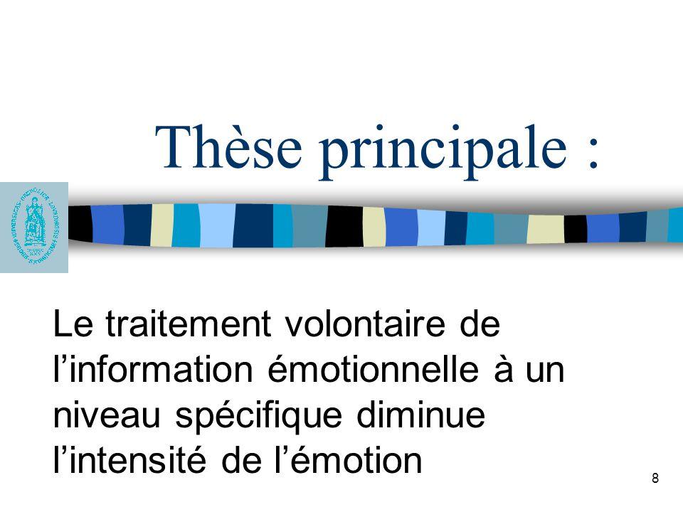 8 Thèse principale : Le traitement volontaire de l'information émotionnelle à un niveau spécifique diminue l'intensité de l'émotion