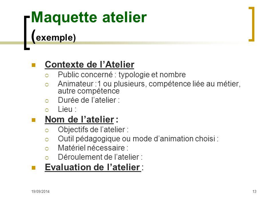 19/09/201413 Maquette atelier ( exemple) Contexte de l'Atelier  Public concerné : typologie et nombre  Animateur :1 ou plusieurs, compétence liée au