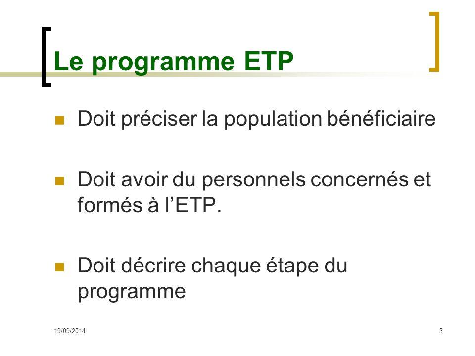 Le programme ETP Doit préciser la population bénéficiaire Doit avoir du personnels concernés et formés à l'ETP. Doit décrire chaque étape du programme