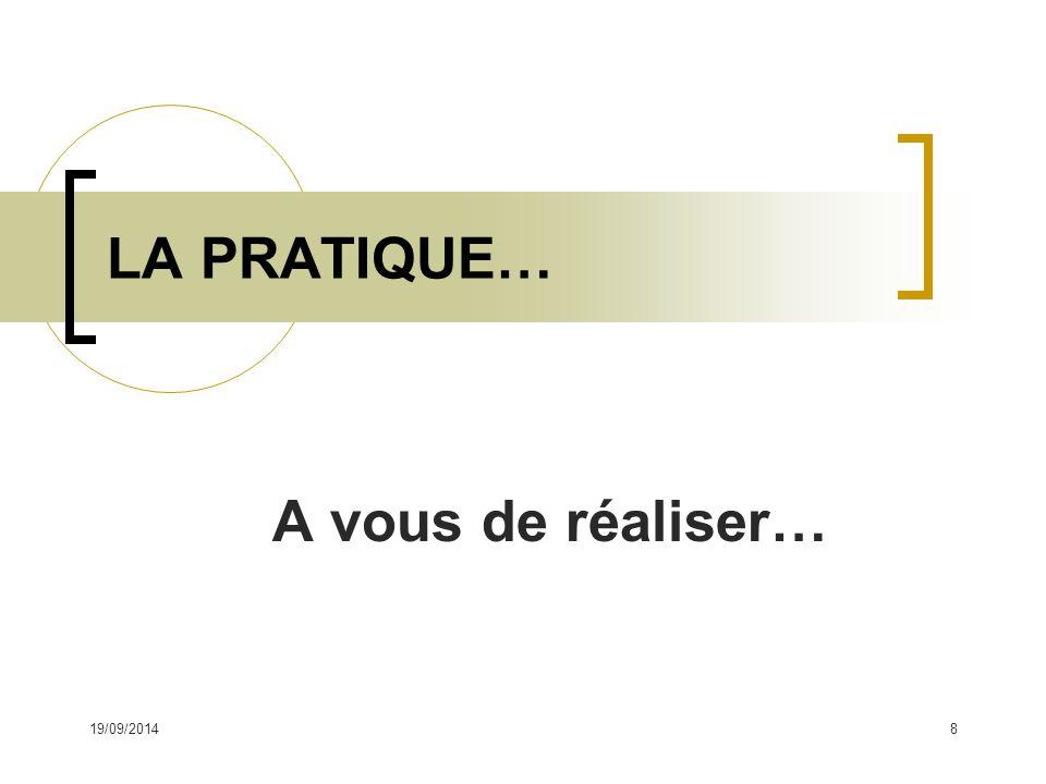 A vous de réaliser… LA PRATIQUE… 19/09/20148