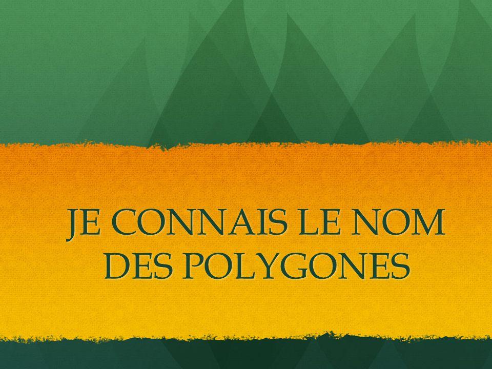 JE CONNAIS LE NOM DES POLYGONES