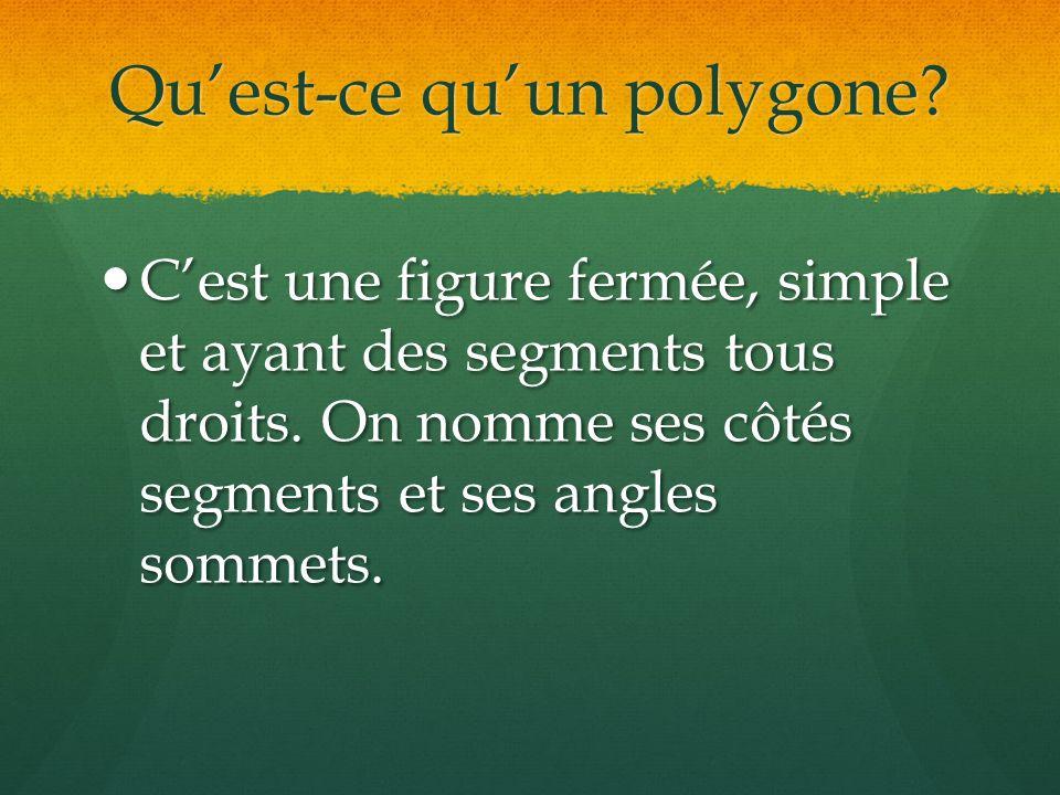 Qu'est-ce qu'un polygone.C'est une figure fermée, simple et ayant des segments tous droits.