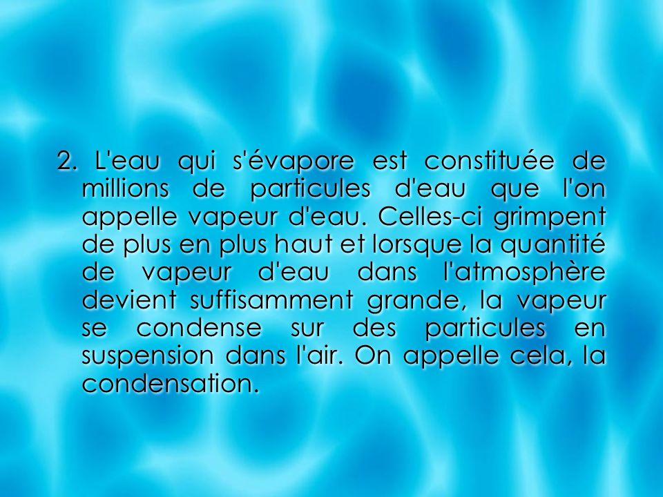 2. L'eau qui s'évapore est constituée de millions de particules d'eau que l'on appelle vapeur d'eau. Celles-ci grimpent de plus en plus haut et lorsqu
