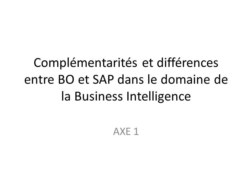 Complémentarités et différences entre BO et SAP dans le domaine de la Business Intelligence AXE 1
