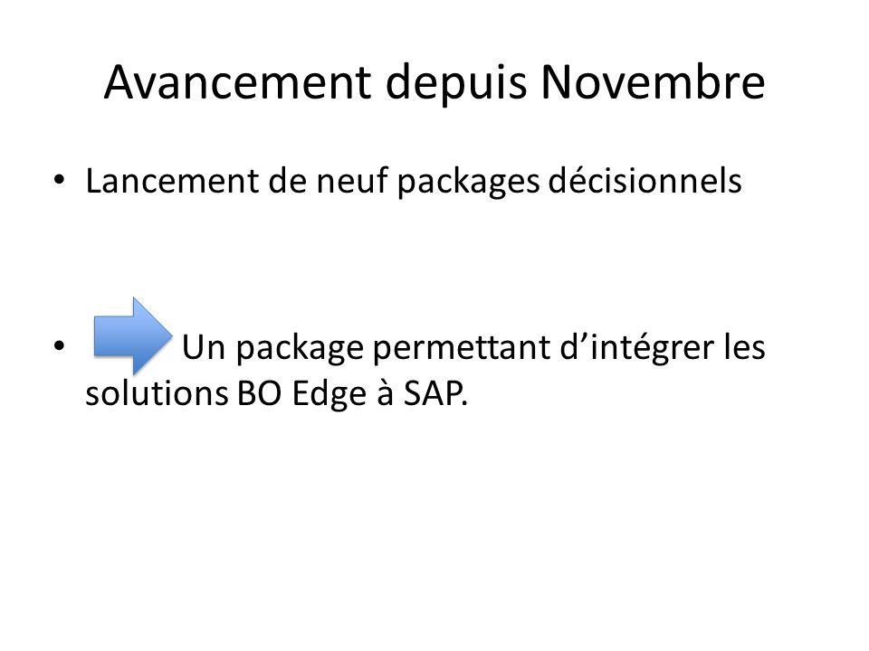 Avancement depuis Novembre Lancement de neuf packages décisionnels Un package permettant d'intégrer les solutions BO Edge à SAP.