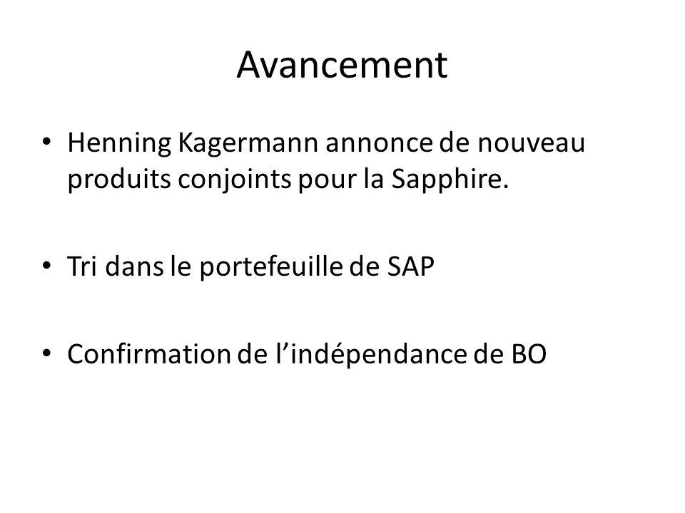 Avancement Henning Kagermann annonce de nouveau produits conjoints pour la Sapphire.