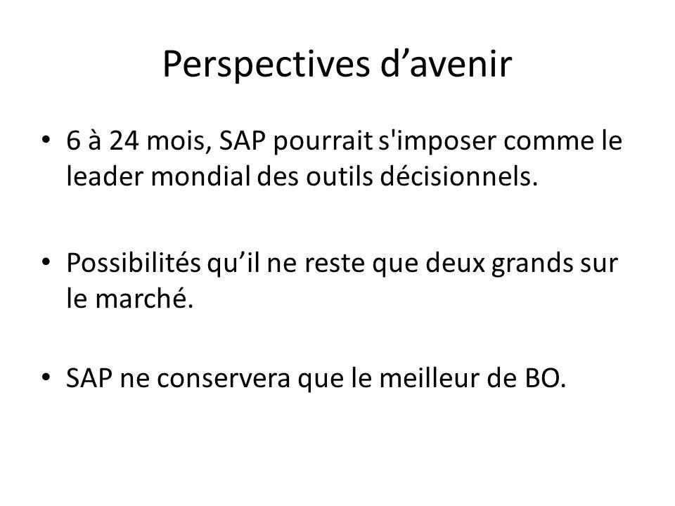 Perspectives d'avenir 6 à 24 mois, SAP pourrait s imposer comme le leader mondial des outils décisionnels.