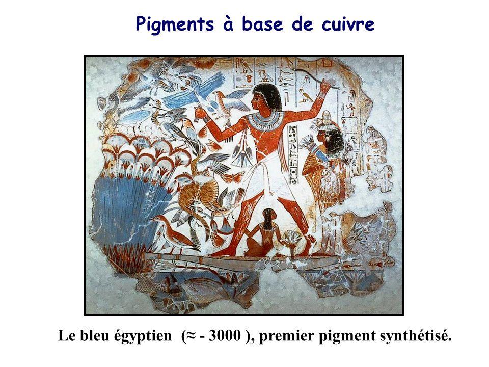 Pigments à base de cuivre Le bleu égyptien (≈ - 3000 ), premier pigment synthétisé.