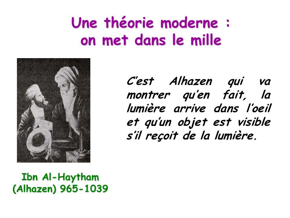 Une théorie moderne : on met dans le mille Ibn Al-Haytham (Alhazen) 965-1039 C'est Alhazen qui va montrer qu'en fait, la lumière arrive dans l'oeil et qu'un objet est visible s'il reçoit de la lumière.