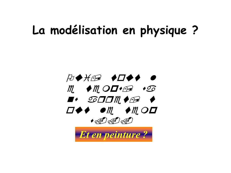 La modélisation en physique ?      Et en peinture ?