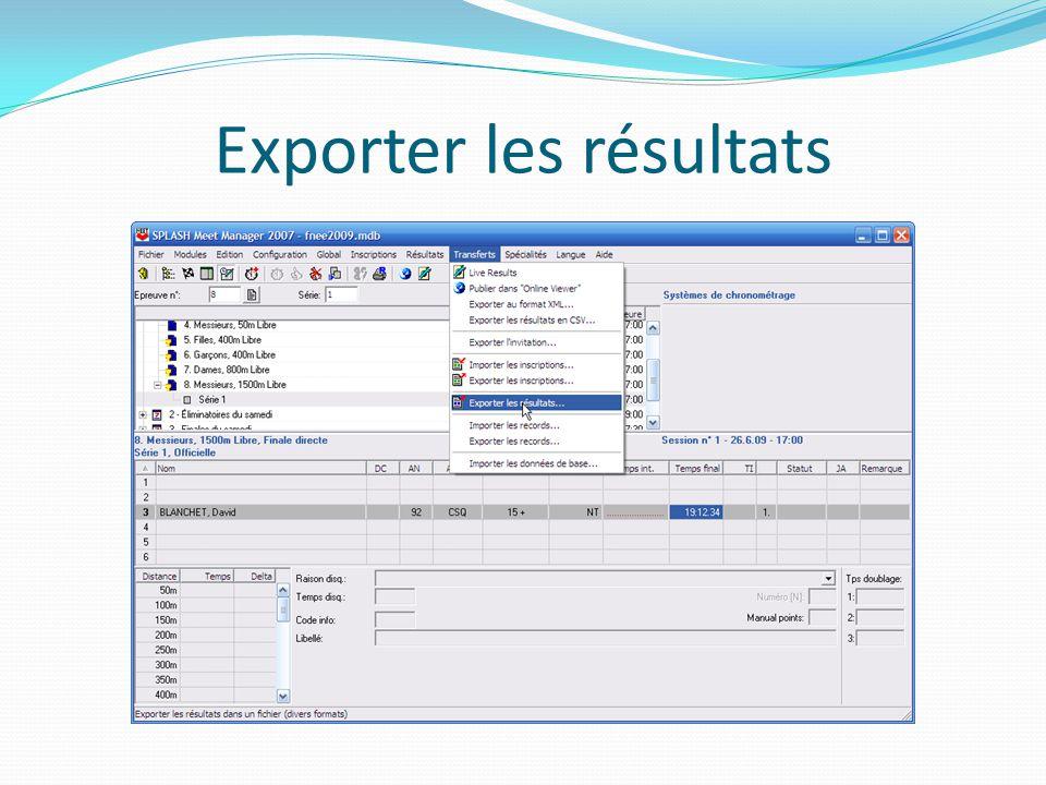 Exporter les résultats