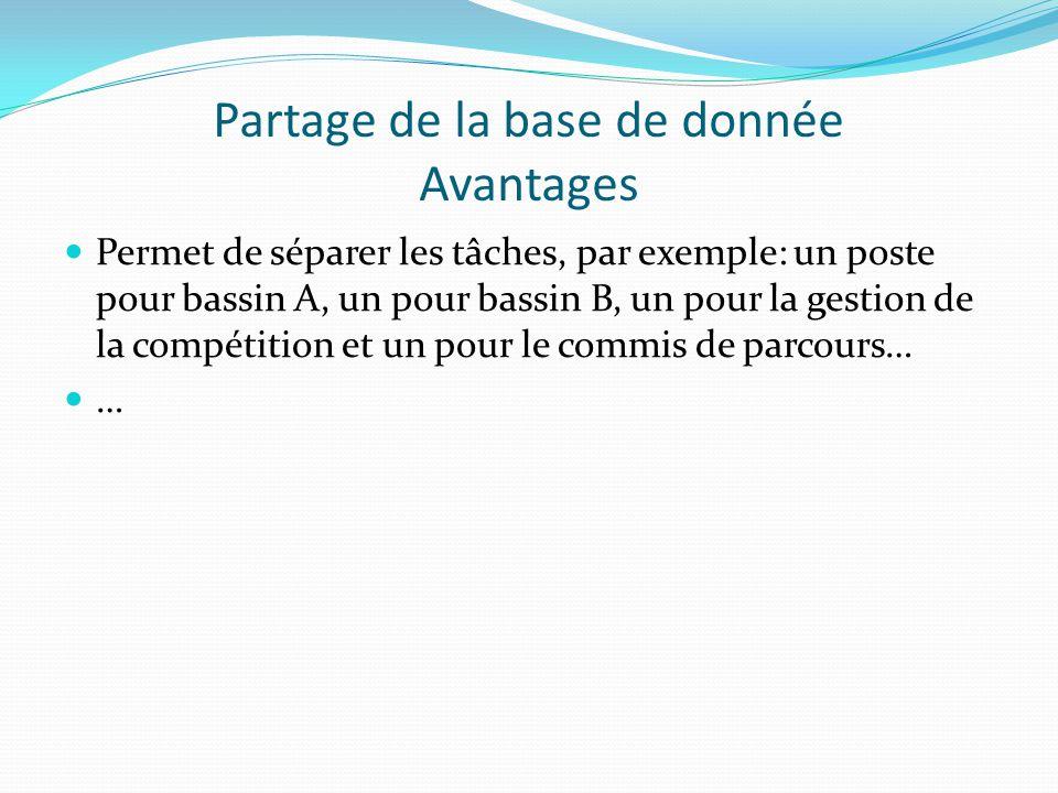Partage de la base de donnée Avantages Permet de séparer les tâches, par exemple: un poste pour bassin A, un pour bassin B, un pour la gestion de la compétition et un pour le commis de parcours… …