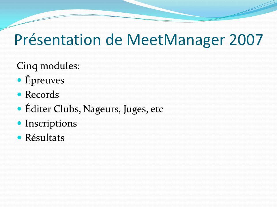 Présentation de MeetManager 2007 Cinq modules: Épreuves Records Éditer Clubs, Nageurs, Juges, etc Inscriptions Résultats