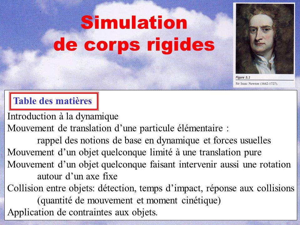 1 Simulation de corps rigides Table des matières Introduction à la dynamique Mouvement de translation d'une particule élémentaire : rappel des notions