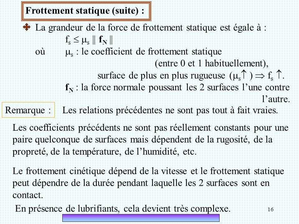 16 Frottement statique (suite) : La grandeur de la force de frottement statique est égale à : f s   s || f N || où  s : le coefficient de frottemen