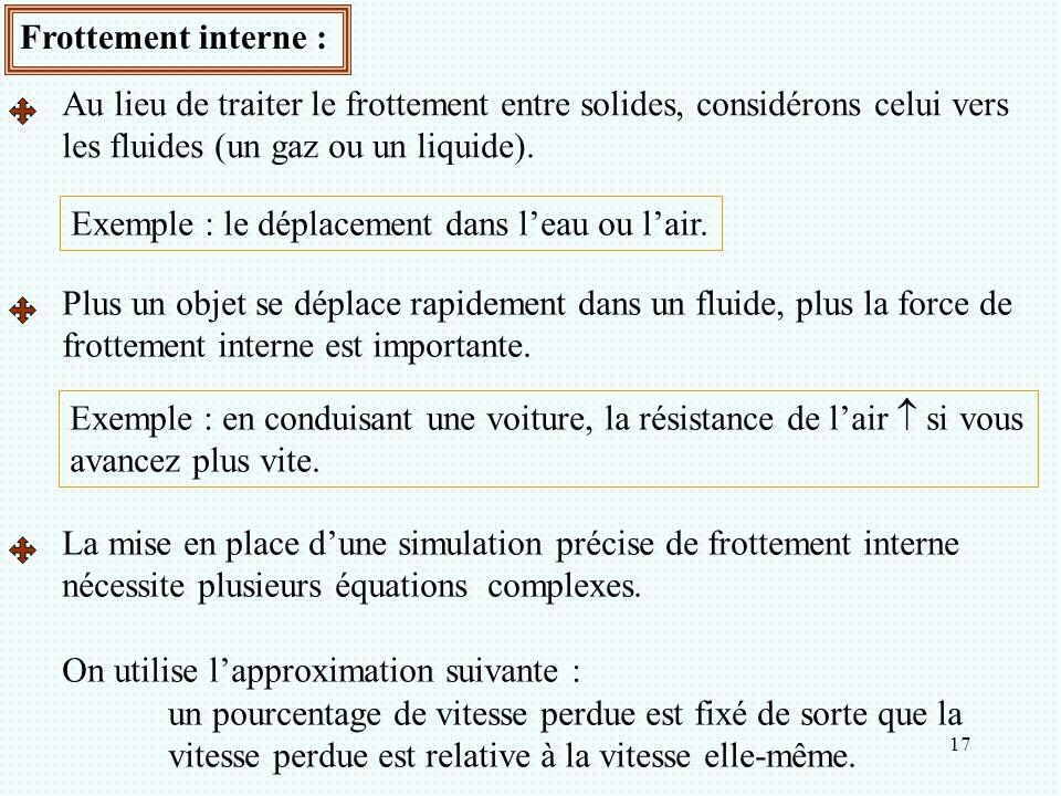 17 Frottement interne : Au lieu de traiter le frottement entre solides, considérons celui vers les fluides (un gaz ou un liquide). Exemple : le déplac
