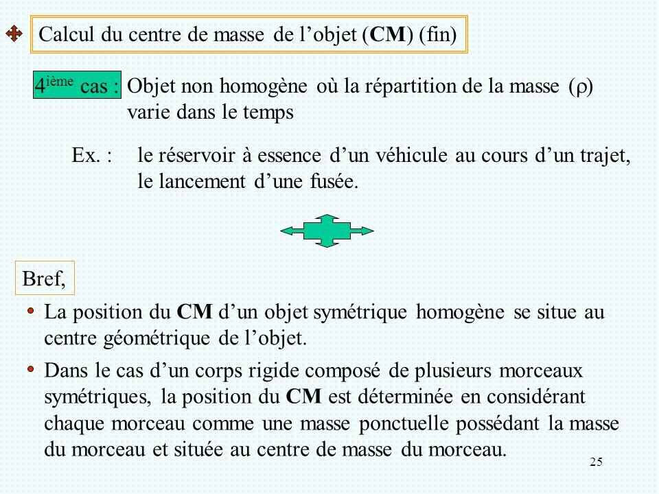 25 Calcul du centre de masse de l'objet (CM) (fin) 4 ième cas : Objet non homogène où la répartition de la masse (  ) varie dans le temps Ex. :le rés