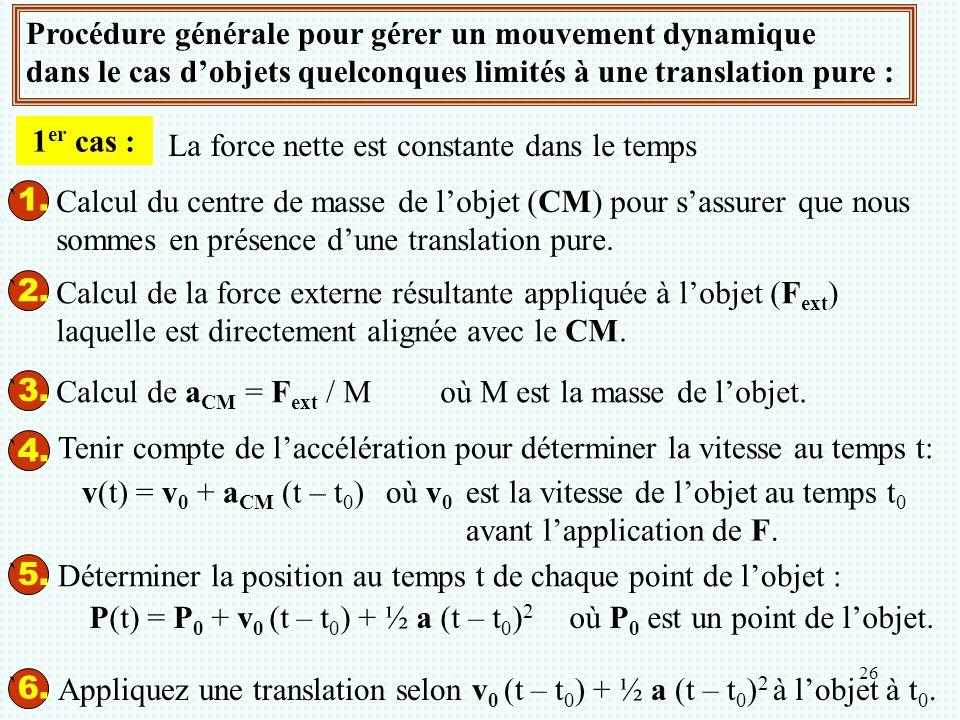 26 Procédure générale pour gérer un mouvement dynamique dans le cas d'objets quelconques limités à une translation pure : ` 1. ` 2. ` 3. ` 4. Tenir co