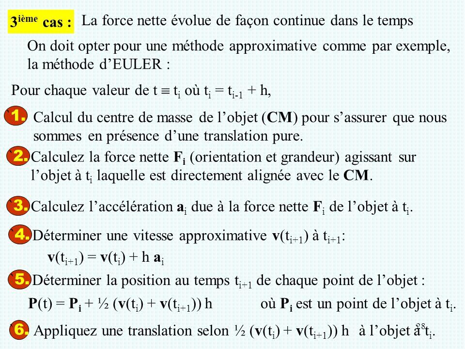 28 ` 1. ` 2. Calculez la force nette F i (orientation et grandeur) agissant sur l'objet à t i laquelle est directement alignée avec le CM. ` 3. Calcul