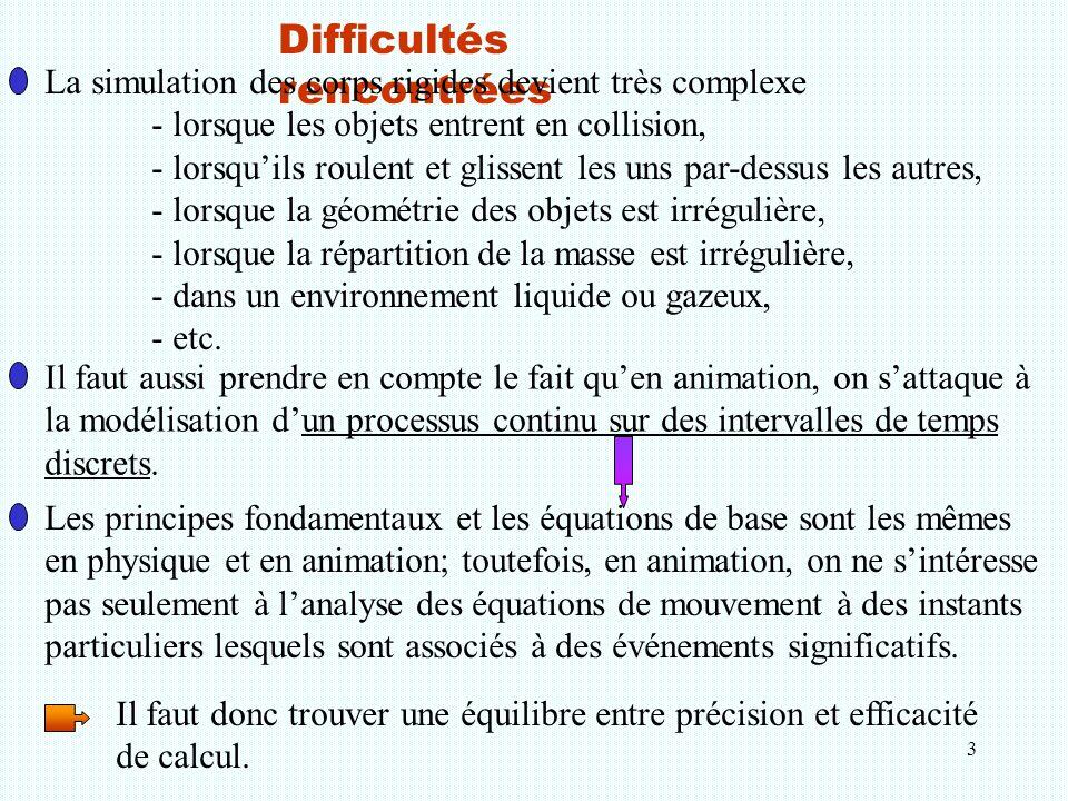 3 Difficultés rencontrées La simulation des corps rigides devient très complexe - lorsque les objets entrent en collision, - lorsqu'ils roulent et gli
