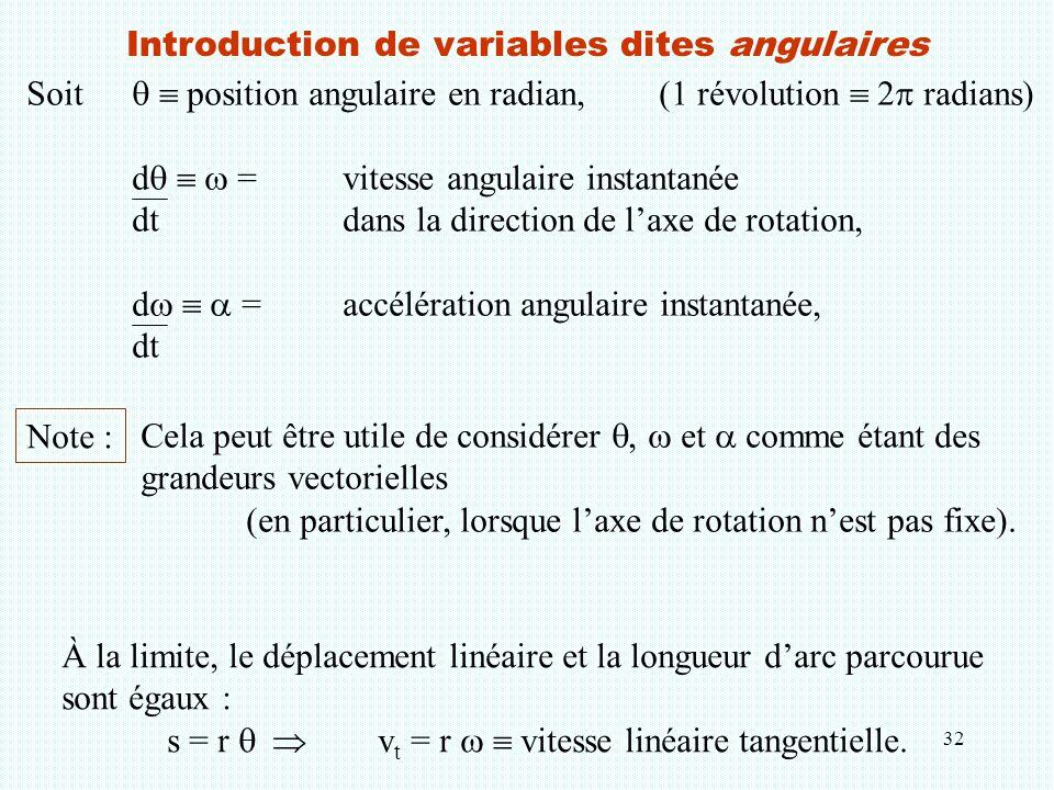 32 Introduction de variables dites angulaires Soit   position angulaire en radian,(1 révolution  2  radians) d    = vitesse angulaire instantan