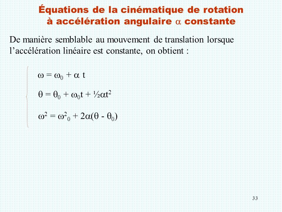 33 Équations de la cinématique de rotation à accélération angulaire  constante De manière semblable au mouvement de translation lorsque l'accélératio